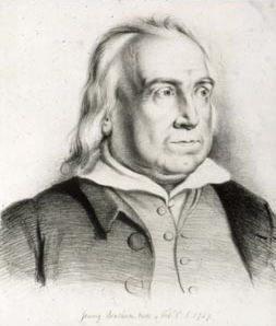 Black and white lithograph of Jeremy Bentham